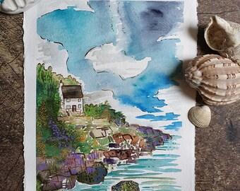 Cornwall painting, cornish coast,  Devon, nature, coastal, cornish Travel poster, Cornish painting, cornish art
