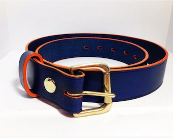 Navy Blue Leather Belt with an Orange edge 38mm