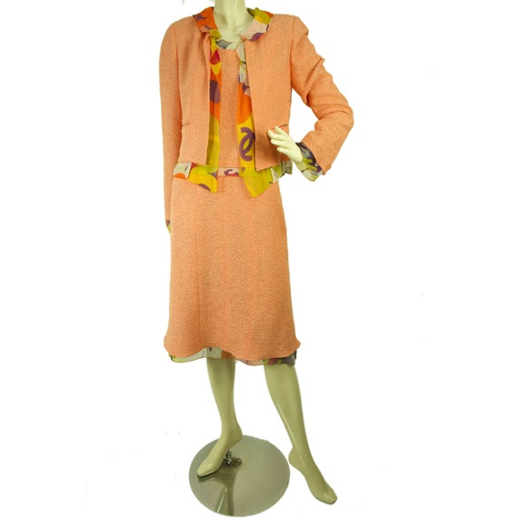 Vintage Chanel Peach Tweed And Silk Three Piece Su