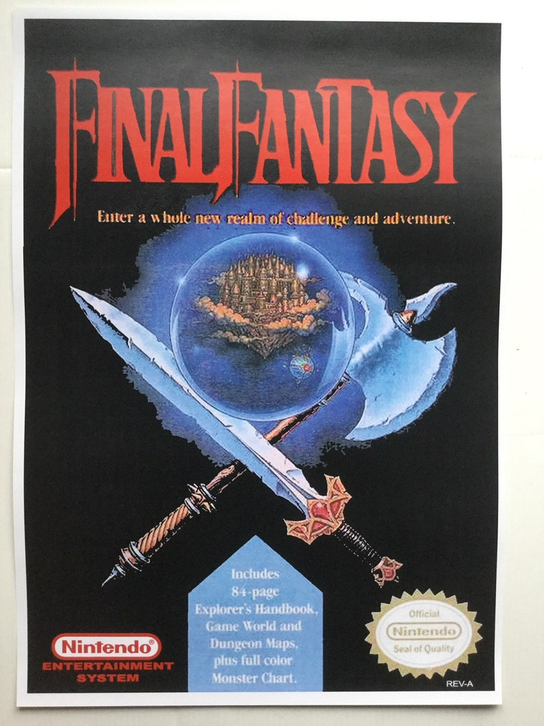 custom repro final fantasy video game box art print poster in a3 nes tonnes available