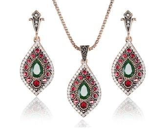 Turkish necklace and earrings set luxury imitation jewelry