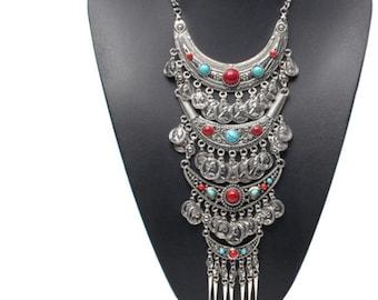 Turkish vintage coin tassels collar choker necklace