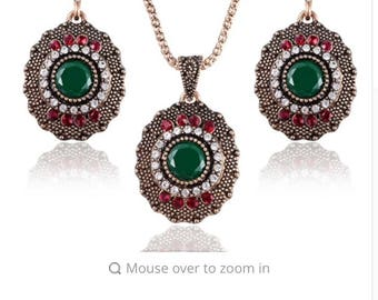 Turkish vintage necklace set ,earrings and necklace
