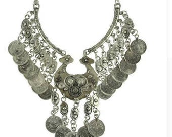 Turkish hot tassel exaggerated long silver coins statement necklace