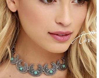Turkish vintage ,silver choker necklace with turquoise stone