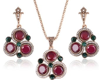Turkish jewelry set red stone,necklace and earrings set