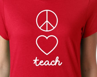 61317508d6a1 Peace Love Teach Teacher Apple Red For Ed T-Shirt #RedForEd Support Public  Ed Unisex T-Shirt