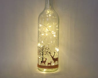 Stag Christmas Decorations, Christmas Lights, Bottle Light, Christmas Table Centrepiece, Rose Gold Gifts,  Christmas Gifts For Her, Couple