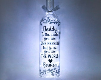 Personalised Father's Day Gifts, Daddy Bottle Light, Birthday Gifts for Dad, Unique Keepsake Father, Gift from Son or Daughter, Children