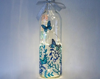 Blue Butterfly Gifts For Her, Can be Personalised, Bottle Light, Birthday, Nature Lover, Turquoise, Teal Home Decor, Women, Girls, Lantern