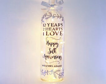 Personalised 12th Wedding Anniversary Gift, Bottle Light, Silk, Customised for Couple, Best Friend, Daughter, Son In Law, Unique Keepsake
