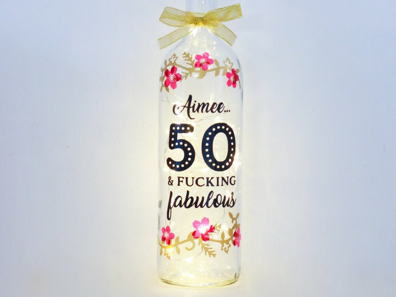 Personalised 50th Birthday Gift For Her Fifty And Fabulous