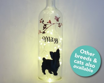 Pet Sympathy Gift, Can be Personalised, Can Change Breed, Memorial Bottle Lamp, Customised Remembrance Lights, Cat Death, Dog Loss, Labrador