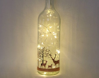 Stag Christmas Decorations, Christmas Lights, Rose Gold Bottle Light, Table Centrepiece, Fireplace Display, Festive Gift For Family, Woman