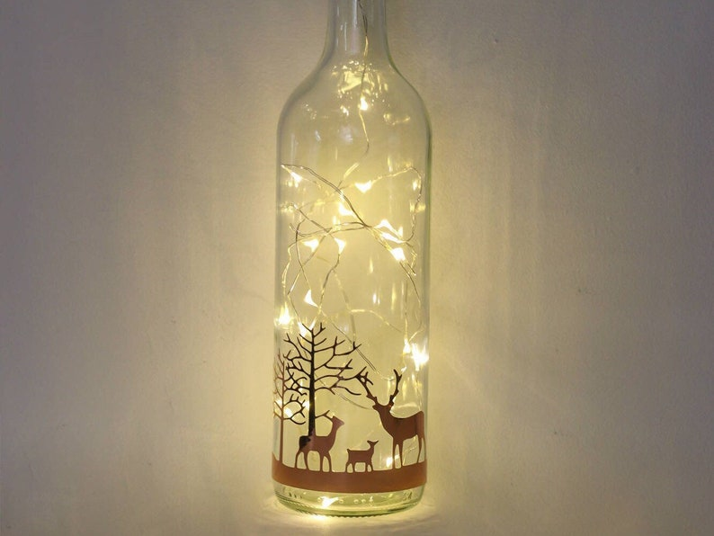 Stag Christmas Decorations Christmas Lights Rose Gold Bottle image 0