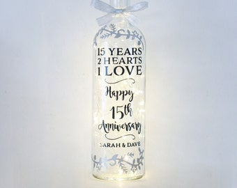Bottle Light, 15th Wedding Anniversary Gift, 15 Year, Unique Keepsake For Couple, Ornament, Best Friends, For Wife, Son, Daughter