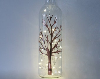 Bottle Lights, Nature Lover Gifts, Rose Gold Bottle Lamp, Winter Gifts, Gift For Tree Lover, Bare Tree, Mothers Day Gift, Gift for Friend