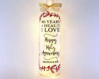 Personalised 40th Ruby Wedding Anniversary Gift, 40 Year, Present for Parents, Grandparents, Auntie and Uncle, Party Decor, Unique Keepsake