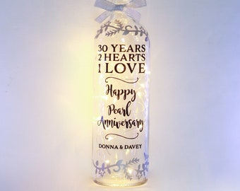 30th Pearl Wedding Anniversary Gift, 30 Year, Personalised, For Parents, Mum, Dad, Aunty, Uncle, Customised Gift for Couple, Unique Keepsake