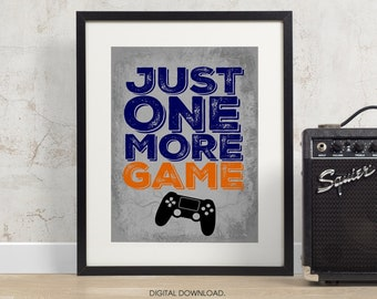 Playstation Controller Print - Just one more Game - PS4 - PS4 poster - PS4 print - teen art - PS4 room decor - video game art - controller