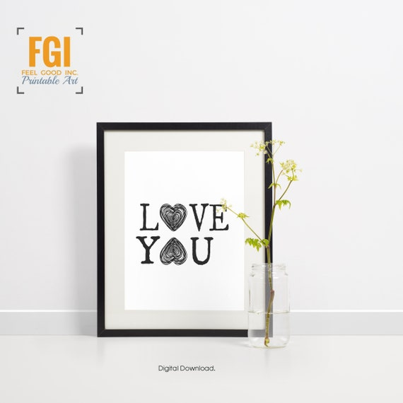 Love You Black White Typography Hygge Minimalist Gift Etsy Inspiration Bedroom Love Minimalist Plans