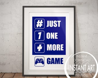 Navy Blue XBOX Controller Print - Just one more Game - xbox art - xbox poster - xbox print - teen art - xbox room decor - video game art