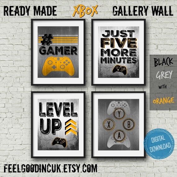 Set Of Four Video Game Posters Orange 8x10 A4 Xbox Etsy