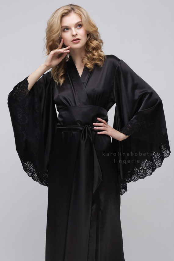 d05f0b4288 Long satin robe with lace  Model 6  navy-blue colour