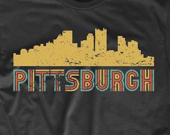 7237836e993 Men s Pittsburgh Shirt - Retro Vintage Style Pittsburgh Pennsylvania  Skyline T-Shirt