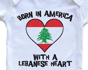 Cute One Piece Baby Bodysuit I/'m Proof Mommy Can/'t Resist Lebanese Guys Lebanon Flag Heart Baby Onesie