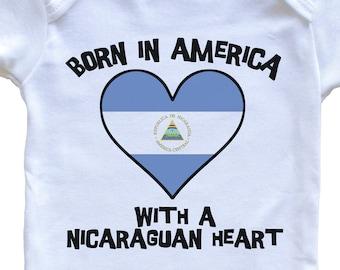 Just A Little Nicaraguan Baby T-Shirt Funny Nicaragua Flag Infant  Toddler Shirt