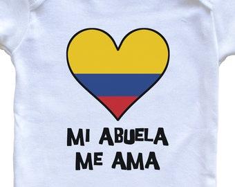 My Grandma Loves Me Spanish Language Grandchild Baby Onesie Mi Abuela Me Ama