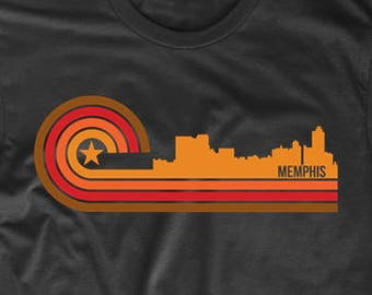 Retro Style Memphis Tennessee Skyline T-Shirt by Really Awesome Shirts