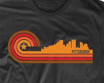 Retro Style Pittsburgh Pennsylvania Skyline T-Shirt