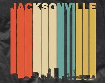 9160b0538e2 Jacksonville Shirt - Vintage Retro 1970 s Style Jacksonville Florida  Skyline T-Shirt - Jacksonville FL Shirt - Jacksonville Florida Shirt
