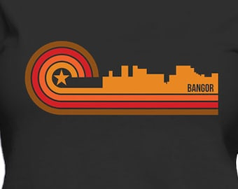 Retro Style Bangor Maine Skyline Women's T-Shirt
