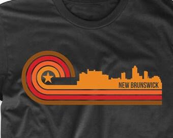 Retro Style New Brunswick New Jersey Skyline T-Shirt by Really Awesome Shirts