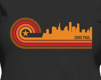 Retro Style Saint Paul Minnesota Skyline Women's T-Shirt