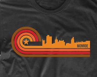 Retro Style Monroe Louisiana Skyline T-Shirt