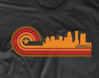 7a294650 Retro Style Louisville Kentucky Skyline T-Shirt - Men's Louisville Shirt - Louisville  KY Shirt