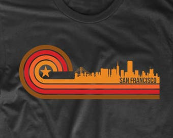 f1ed3a0c10438b Men s San Francisco Shirt - Retro Style San Francisco California Skyline T- Shirt - San Francisco CA Shirt