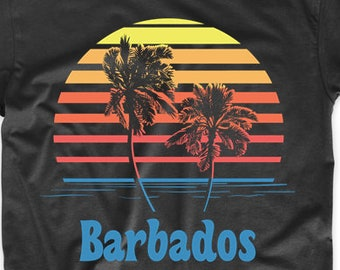 edb14613 Barbados Sunset Palm Trees Beach Vacation T-Shirt by Really Awesome Shirts