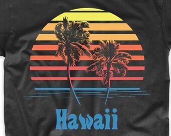 Hawaii Sunset Palm Trees Beach Vacation T-Shirt by Really Awesome Shirts
