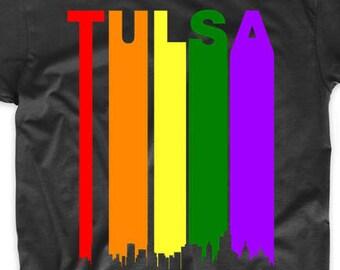 e61a5802 Tulsa Oklahoma Rainbow Skyline LGBT LGBTQ Gay Pride Shirt by Really Awesome  Shirts