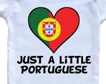 e5a4a8c0 Just A Little Portuguese Onesie - Funny Portugal Flag Baby Bodysuit