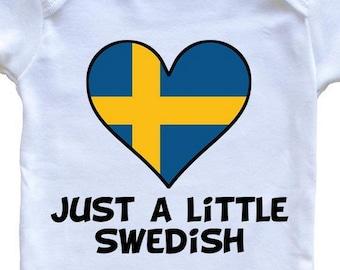 db6255b4 Just A Little Swedish Onesie - Funny Sweden Flag Baby Bodysuit