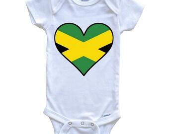 7fcbd023974c Jamaican Flag Onesie - Cute Jamaican Flag Heart - Jamaica Baby Bodysuit