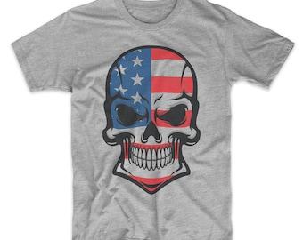 970242d1 American Flag Skull United States Skull 4th Of July Graphic T-Shirt - Men's  American Flag Shirt