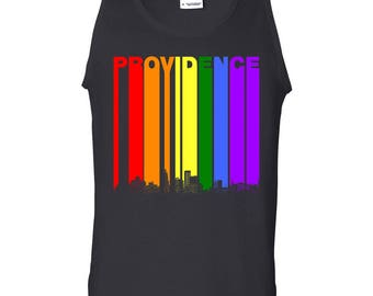 0652c9703 Providence Rhode Island Skyline Rainbow Skyline LGBT Gay Pride Tank Top by  Really Awesome Shirts