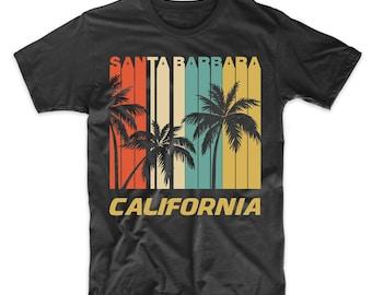 0330df6c62 Retro Santa Barbara California Palm Trees Vacation T-Shirt - Men's Santa  Barbara Shirt
